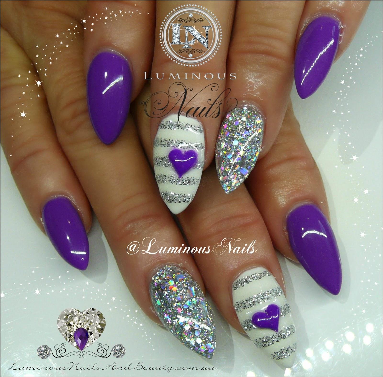 Purple Silver White Nails